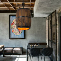 US Wine Wood Barrel Hanging Fixture Pendant Ceiling Lamp Lighting Bar Cafe Light
