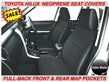 FRONT & REAR FULL BACK NEOPRENE SEAT COVERS SUITS HILUX-SR/SR5 (JUNE 05-AUG2015)