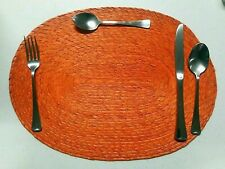 4 New beautiful Hand Woven Palm Straw Oval Placemats Orange from Mexico kitchen