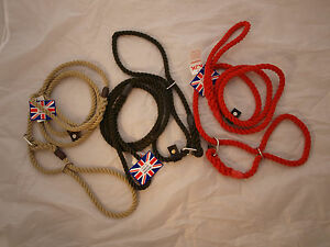 KJK  10mm DOUBLE STOP(,FIGURE OF 8) ROPE DOG LEAD,RED,BLACK,NATURAL,MADE IN UK