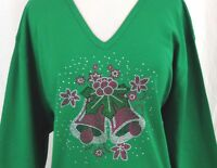 PLUS 3X 3/4 Sleeve V-Neck Top Rhinestone Embellished Christmas Holiday Bells
