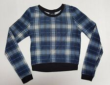 RUE21 Women's T-Shirt Blouse Long Sleeve Stripe Top Blue & Black Small  A342