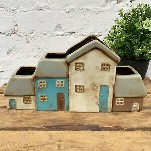 Ceramic Multi Village Cottage 4 Houses Pottery Flower Plant Pot Holder Ornament