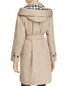 NEW $895 Burberry Kibworth Stone Hooded Single Breasted Trench Coat US 8 / IT 42