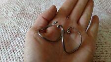 Choice Vintage CLIP earrings artisan silver wire wrap hoop sterling? BOHO MOD