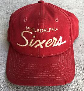 rare vtg 90s sports specialties philadelphia 76ers script wool snapback hat
