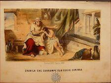 EROTICA - Tavola Acquerellata d'epoca '800 CROBILA CORROMPE CORINNA Perrin