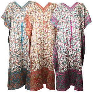 Womens Long Kaftan Summer Tunic Holiday Dress Beach Cover up fits UK Size 12-26