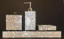 x4 Bella Lux Rhinestone & Mirrored Four Piece Bath Accessory Set Luxury. Nwt