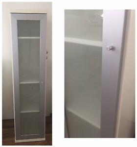Ikea Bonde Vitrine Schrank Wandschrank Wohnzimmer Weiss Milchglas 150x40x40 Rar