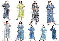 Indien Cordon Long Taille Caftan en Vrac Tunique Robe Coton 10 PC Lot Vendu Gros
