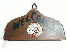 Vintage Wood Welcome Wall Hang Sign Plaque  Sea Shell Motif Round Tile