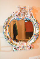 Beautiful Antique German Figural Porcelain Mirror