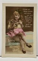 RPPC Birthday Wishes Cute Girl Real Photo Hand Colored c1921Postcard H16