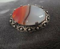 Vintage MIRACLE Orange Carnelian White Opaline Stone Oval Celtic Brooch Pin vtg