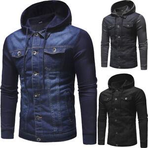 New Winter Men's Denim Slim Hoodies Hooded Sweatshirt Coat Jacket Outwear Tops