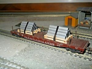 HO-S Scale-Gauge Handmade Pallets with handmade pipe load for flat cars