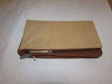Abercrombie Fitch Women Brown Make Up? Fold Over Clutch Faux Leather Bag Travel