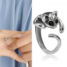 Kitten Women Men Jewelry Silver Plated Crystal Eyes Cat Ring