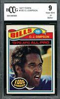 1977 Topps #100 O.J. Simpson Card BGS BCCG 9 Near Mint+