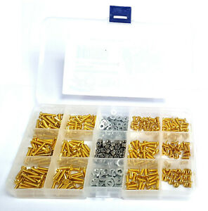 RC 1/10 Screw Kit Button Flat Metric 3mm M3 x 6 8 10 12 14 16mm Nut Washer Gold