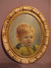 Tableau huile sur panneau portrait d'enfant début XX ème