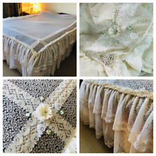 True Vintage Lace Bedcover Topper Double White Cottage Kitsch Romantic Frilled