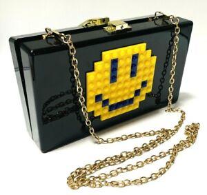Black Clutch Purse Smiley Black Clutch Bag building bricks Smile face Bag Hard