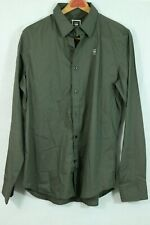 G-Star RAW Button Shirt XL Logo Solid Gray/Brown 'Fanced Shirt LS' Stretch Blend