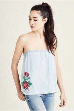 True Religion Women's Denim Strapless Top Size XS NWT Bali Blue Shirt WSGBB1ZH7