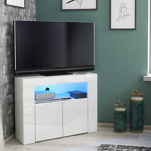 RGB Matt LED Light TV Cabinet Sideboard Cupboard Unit High Body Gloss Corner UK