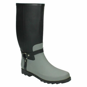 X1R087 MENS SPOT ON WELLIES CASUAL HIGH RUBBEER PULL ON WELLINGTON BOOTS