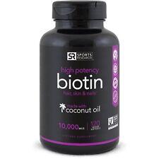 Biotin 10000 mcg with Coconut Oil 120 Mini Veggie Softgels for Hair Skin Nails