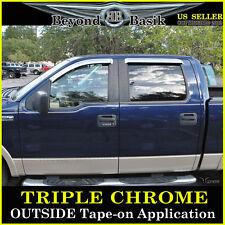04-08 FORD F150 SuperCrew Chrome Door Visors Vent Window Side Shade Rain Guards