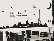 Paris Night City EIFFEL TOWER Moon WALL STICKERS Removable Decor Vinyl Art Decal