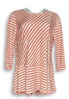Dennis Basso Women's Top Sz M Mitered Stripe Soft Touch Peplum Orange A349297