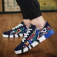 Men's Flat Casual Breathable Lace-Up Sneakers Canvas Shoes Low Top Spring Ths01
