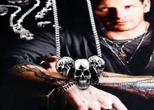 Pendentif Tribal 3 crânes De Mort en 3D Avec Son Collier-Biker-gothique