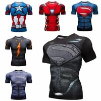 Superman Mens 3D Printed T Shirts Workout Compression Tops Slim fit Cosplay Tees