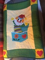 "Vintage Small Child Size Quilt with Jack N Box Clown   43""x57"""