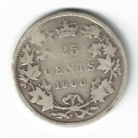 CANADA 1900 TWENTY FIVE CENTS QUARTER QUEEN VICTORIA STERLING SILVER COIN
