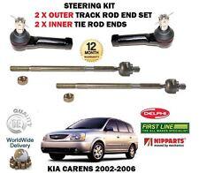 Para Kia Carens 2002-2006 2 X Interior + 2 X pista exterior de dirección Tie Rack Rod Ends