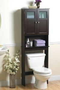 Espresso Wooden Over Toilet Space Saver Storage Cabinet Bathroom Shelf Frosted