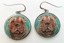 Shar Pei Dog Original Art Earrings