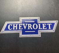 VINTAGE CHEVROLET PORCELAIN BOW-TIE GAS AUTO TRUCKS SERVICE SALES SIGN - U.S.A