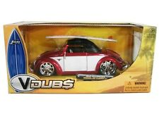 WOW EXTREMELY RARE VW Beetle Hebmuller Tuning Soft Top 1949 Red/ White 1:24 Jada