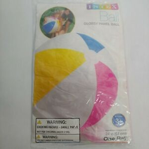 NEW Intex Industries 24 Inch Beach Ball Glossy Panel Blue Yellow Pink Rubber Toy