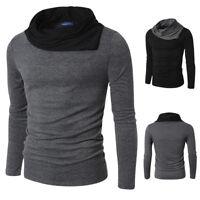 Fashion Men's Slim Fit Irregular Neck Long Sleeve Muscle Tee T-shirt Tops Blouse