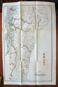 Vermont Surface Geology 1861 Hitchcock Civil War era large color lithograph map