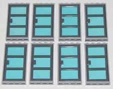 LEGO LOT OF 8 TRANSPARENT LIGHT BLUE GLASS GREY DOOR FRAME WINDOWS TOWN